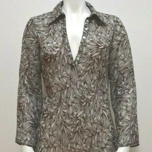 BCBG Sheer Henley Top Size L Floral Leaves Print